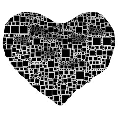 Block On Block, B&w Large 19  Premium Flano Heart Shape Cushions