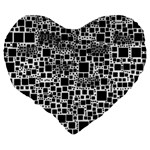 Block On Block, B&w Large 19  Premium Flano Heart Shape Cushions Back