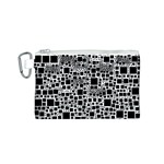 Block On Block, B&w Canvas Cosmetic Bag (S) Front