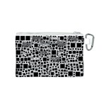 Block On Block, B&w Canvas Cosmetic Bag (S) Back