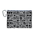 Block On Block, B&w Canvas Cosmetic Bag (M) Front