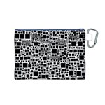 Block On Block, B&w Canvas Cosmetic Bag (M) Back