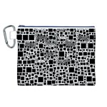 Block On Block, B&w Canvas Cosmetic Bag (L) Front