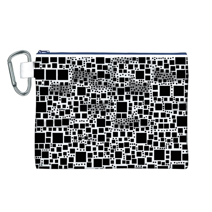 Block On Block, B&w Canvas Cosmetic Bag (L)