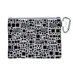 Block On Block, B&w Canvas Cosmetic Bag (L) Back
