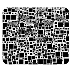 Block On Block, B&w Double Sided Flano Blanket (small)