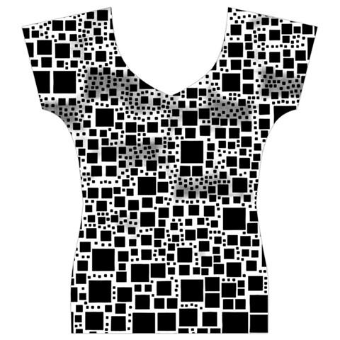 Block On Block, B&w Women s V-Neck Cap Sleeve Top