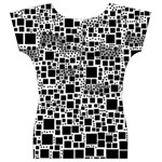 Block On Block, B&w Women s V-Neck Cap Sleeve Top Back