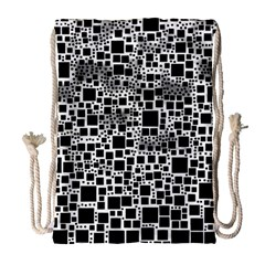 Block On Block, B&w Drawstring Bag (Large)