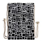 Block On Block, B&w Drawstring Bag (Large) Back