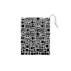 Block On Block, B&w Drawstring Pouches (xs)
