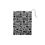 Block On Block, B&w Drawstring Pouches (XS)  Front