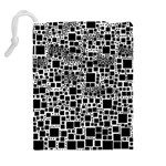 Block On Block, B&w Drawstring Pouches (Extra Large) Back