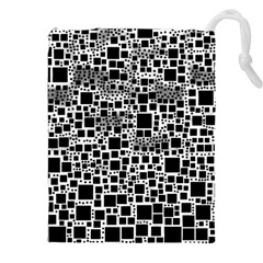 Block On Block, B&w Drawstring Pouches (XXL)