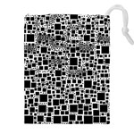 Block On Block, B&w Drawstring Pouches (XXL) Front