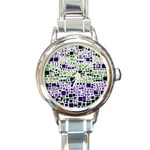Block On Block, Purple Round Italian Charm Watch Front