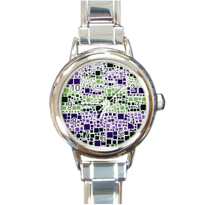 Block On Block, Purple Round Italian Charm Watch