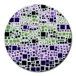 Block On Block, Purple Round Mousepads Front