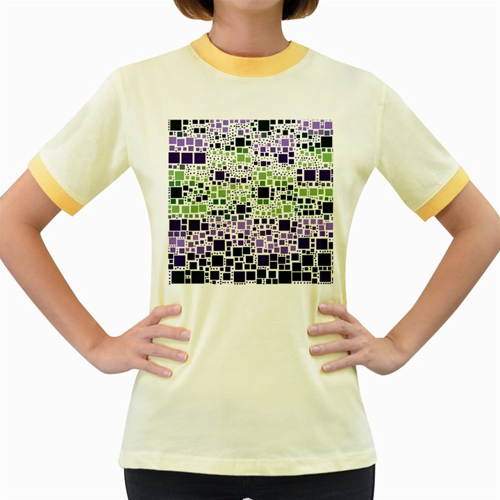 Block On Block, Purple Women s Fitted Ringer T-Shirts