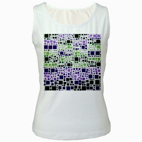 Block On Block, Purple Women s White Tank Top