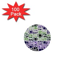 Block On Block, Purple 1  Mini Buttons (100 Pack)