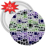 Block On Block, Purple 3  Buttons (10 pack)  Front
