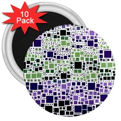 Block On Block, Purple 3  Magnets (10 pack)