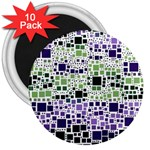 Block On Block, Purple 3  Magnets (10 pack)  Front