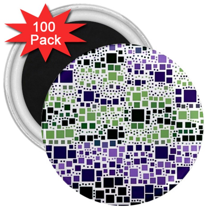 Block On Block, Purple 3  Magnets (100 pack)