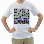 Block On Block, Purple Men s T-Shirt (White) (Two Sided) Front