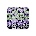 Block On Block, Purple Rubber Square Coaster (4 pack)  Front
