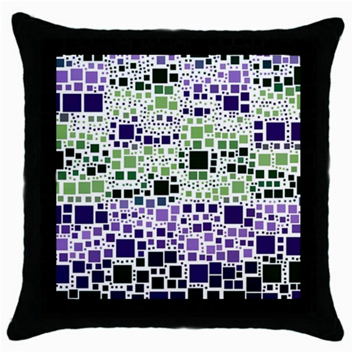 Block On Block, Purple Throw Pillow Case (Black)