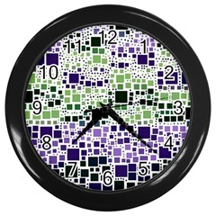Block On Block, Purple Wall Clocks (Black)