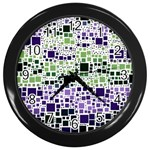 Block On Block, Purple Wall Clocks (Black) Front