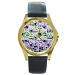 Block On Block, Purple Round Gold Metal Watch Front