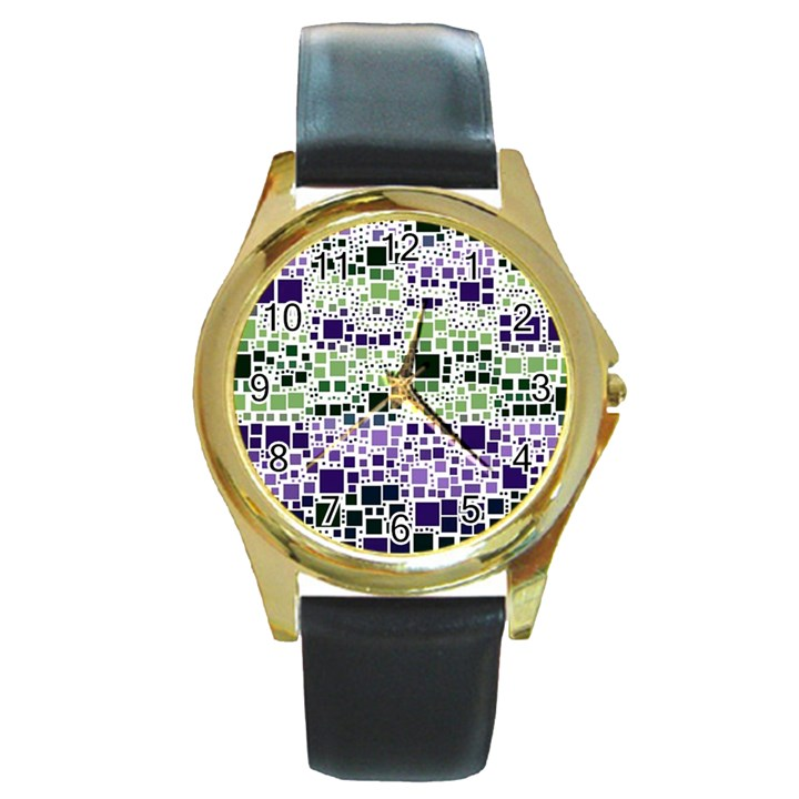 Block On Block, Purple Round Gold Metal Watch