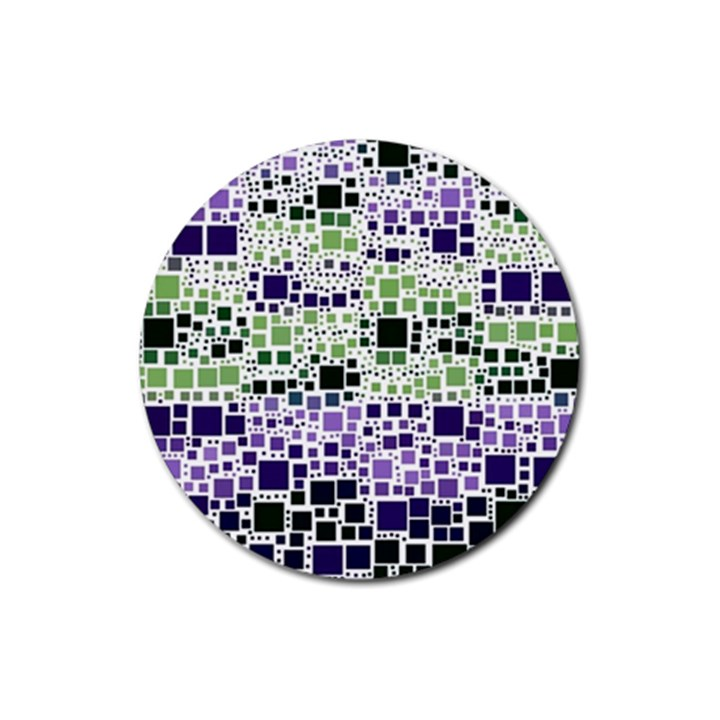 Block On Block, Purple Rubber Coaster (Round)