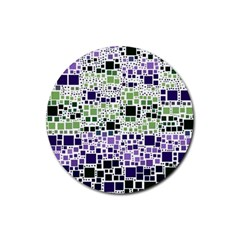 Block On Block, Purple Rubber Round Coaster (4 pack)