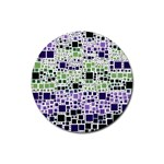 Block On Block, Purple Rubber Round Coaster (4 pack)  Front