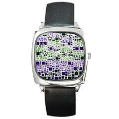 Block On Block, Purple Square Metal Watch