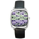 Block On Block, Purple Square Metal Watch Front