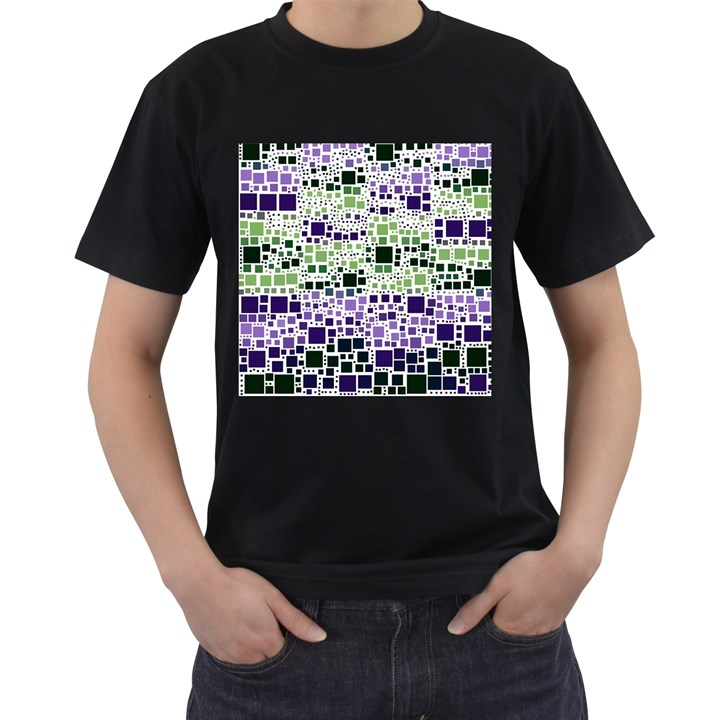 Block On Block, Purple Men s T-Shirt (Black) (Two Sided)