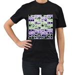 Block On Block, Purple Women s T-Shirt (Black) (Two Sided) Front