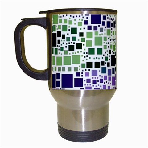 Block On Block, Purple Travel Mugs (White)