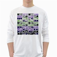 Block On Block, Purple White Long Sleeve T-Shirts