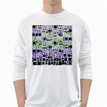 Block On Block, Purple White Long Sleeve T-Shirts Front