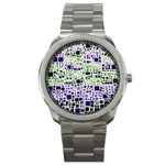 Block On Block, Purple Sport Metal Watch Front