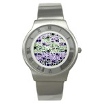 Block On Block, Purple Stainless Steel Watch Front