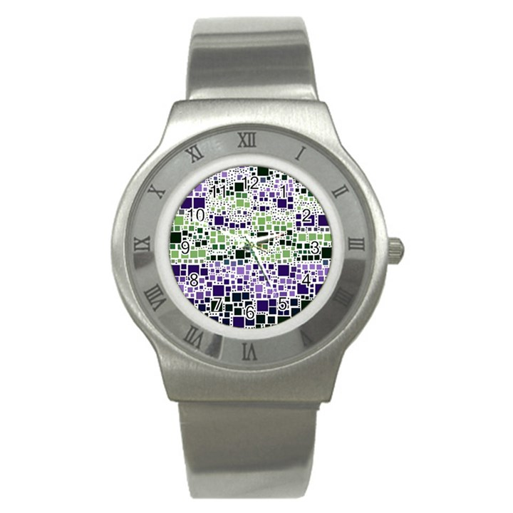 Block On Block, Purple Stainless Steel Watch
