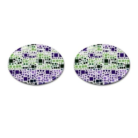 Block On Block, Purple Cufflinks (Oval)
